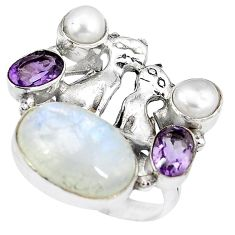 925 silver natural rainbow moonstone pearl two cats ring size 8.5 k61436