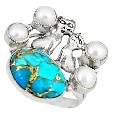 Blue copper turquoise white pearl 925 silver two cats ring size 9 k61437