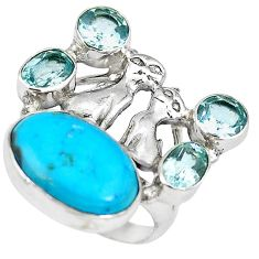Blue arizona mohave turquoise 925 silver two cats ring jewelry size 7 k61438