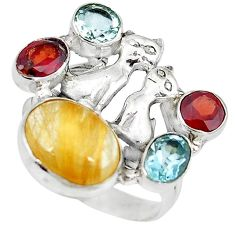 925 silver natural golden tourmaline rutile topaz two cats ring size 8.5 k61439