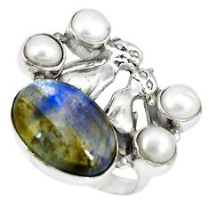 Natural blue labradorite white pearl 925 silver two cats ring size 7 k61440