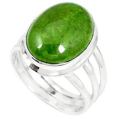 Natural green gaspeite 925 sterling silver ring jewelry size 8.5 k64848