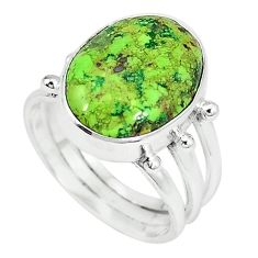 Natural green gaspeite 925 sterling silver ring jewelry size 8 k64849