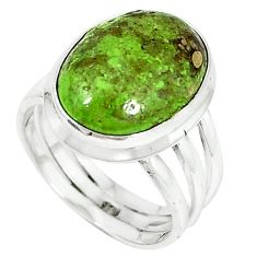 Natural green gaspeite 925 sterling silver ring jewelry size 7 k64850