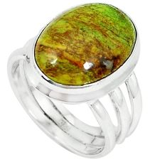925 sterling silver natural green gaspeite ring jewelry size 7.5 k64851