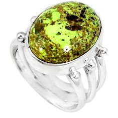 Natural green gaspeite 925 sterling silver ring jewelry size 6.5 k64852