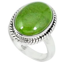 Natural green gaspeite 925 sterling silver ring jewelry size 7 k64854