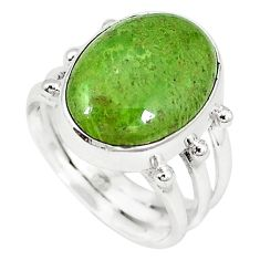 Natural green gaspeite 925 sterling silver ring jewelry size 7 k64857