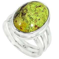 Natural green gaspeite 925 sterling silver ring jewelry size 7.5 k64858