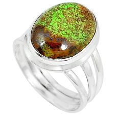 Natural green gaspeite 925 sterling silver ring jewelry size 8.5 k64859
