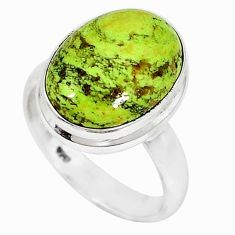 925 sterling silver natural green gaspeite oval ring jewelry size 8.5 k64860