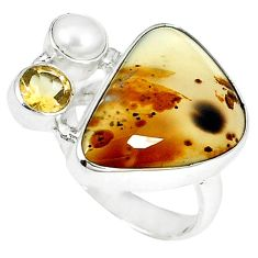 Natural scenic russian dendritic agate pearl 925 silver ring size 7 k65651