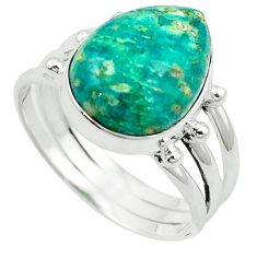 Natural green aventurine (brazil) 925 silver ring jewelry size 10 k67205
