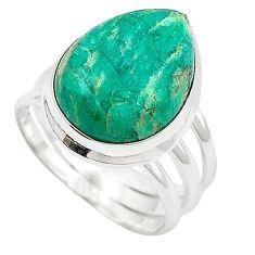 Natural green aventurine (brazil) pear 925 silver ring size 6.5 k67216