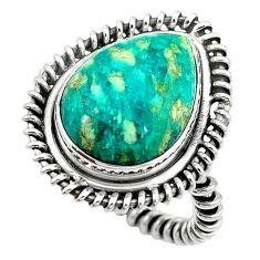 925 sterling silver natural green aventurine (brazil) pear ring size 8 k67219