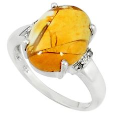 925 silver diamond yellow brecciated mookaite ring jewlery size 7.5 k67831