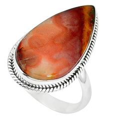 14.90cts natural brown moroccan seam agate 925 silver ring size 10 k68598