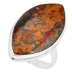 17.20cts natural brown moroccan seam agate 925 silver ring size 9 k68599