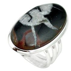 Natural black septarian gonads 925 sterling silver ring size 7 k68713