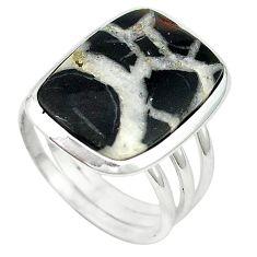 Natural black septarian gonads 925 sterling silver ring size 9 k68714