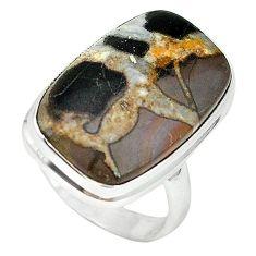 Natural black septarian gonads 925 sterling silver ring size 8.5 k68715