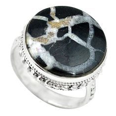 Natural black septarian gonads 925 sterling silver ring jewelry size 8.5 k68717