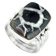 925 sterling silver natural black septarian gonads ring size 8 k68718