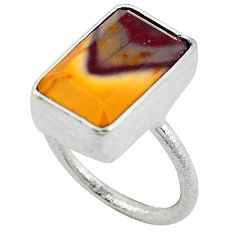 Natural brown mookaite octagon 925 sterling silver ring jewelry size 7.5 k6947