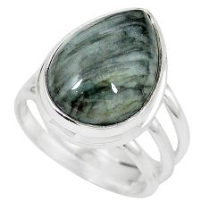 Natural black vivianite 925 sterling silver ring jewelry size 8 k77901