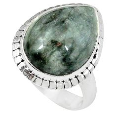 Clearance-Natural black vivianite 925 sterling silver ring jewelry size 8 k77902