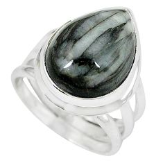 Natural black vivianite 925 sterling silver ring jewelry size 7 k77903