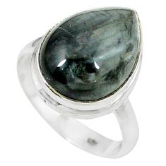 925 sterling silver natural black vivianite ring jewelry size 9 k77904