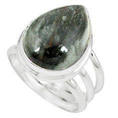 Natural black vivianite 925 sterling silver ring jewelry size 7 k77905