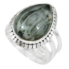 Clearance-Natural black vivianite pear 925 sterling silver ring jewelry size 8 k77906