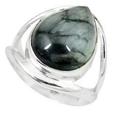 Natural black vivianite 925 sterling silver ring jewelry size 7 k77907