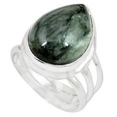 925 sterling silver natural black vivianite pear ring jewelry size 7 k77909