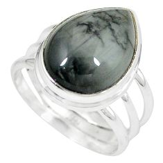 Natural black vivianite 925 sterling silver ring jewelry size 8.5 k77911