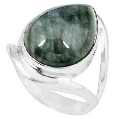 Natural black vivianite 925 sterling silver ring jewelry size 7 k77912