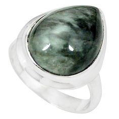 Natural black vivianite 925 sterling silver ring jewelry size 7.5 k77913