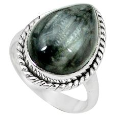 Natural black vivianite 925 sterling silver ring jewelry size 8 k77914