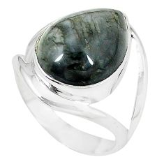 Clearance-Natural black vivianite 925 sterling silver ring jewelry size 8 k77915
