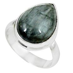 Clearance-925 sterling silver natural black vivianite pear ring jewelry size 8 k77916