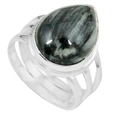 Natural black vivianite 925 sterling silver ring jewelry size 8.5 k77917