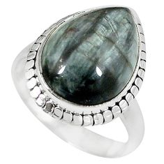 925 sterling silver natural black vivianite pear ring jewelry size 9 k77919