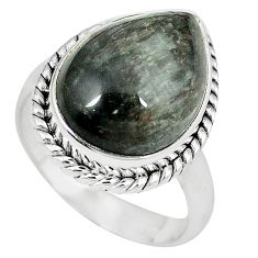 Natural black vivianite 925 sterling silver ring jewelry size 8.5 k77920