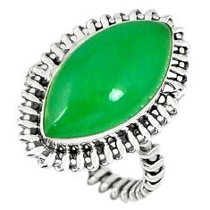 Green jade marquise 925 sterling silver ring jewelry size 9 k80321