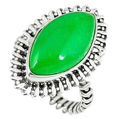 925 sterling silver green jade marquise ring jewelry size 6.5 k80329