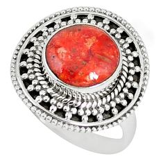 Natural red sponge coral 925 sterling silver ring jewelry size 8 k87001