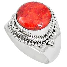 Natural red sponge coral 925 sterling silver ring jewelry size 7 k87002