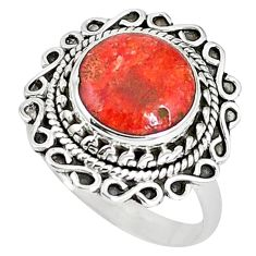 925 sterling silver natural red sponge coral ring jewelry size 8.5 k87003
